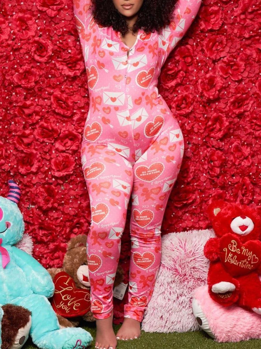 LW lovely Trendy Print Skinny Pink Sleepwear