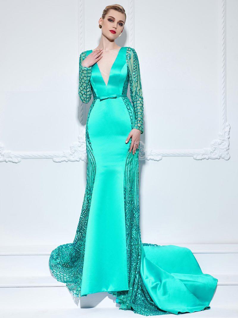 Ericdress Long Sleeves Bowknot Hollow Sequins Evening Dress