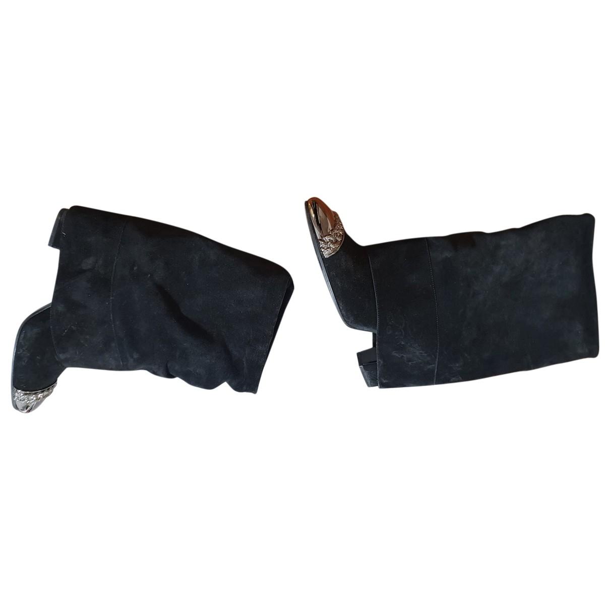 Casadei - Boots   pour femme en suede - noir