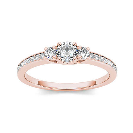 1/2 CT. T.W. Diamond 14K Rose Gold 3-Stone Engagement Ring, 8 1/2 , No Color Family