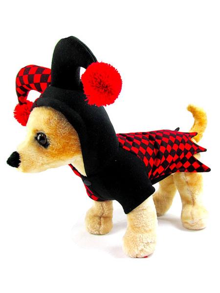 Milanoo Dog Halloween Costume Harley Quinn Clown Red Black Checkered Pet Costumes Halloween