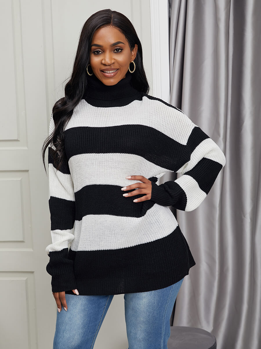 LW Lovely Chic Turtleneck Striped Patchwork Black Sweater