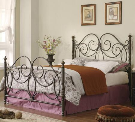 London Collection 300258Q Queen Size Headboard and Footboard Set with Intricate Scrollwork  Decorative Turned Posts and Steel Metal Construction in