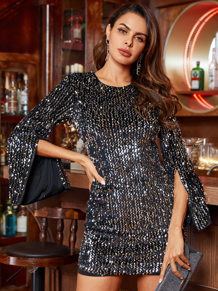 YOINS Black Sequins Cut Out Round Neck Long Sleeves Dress