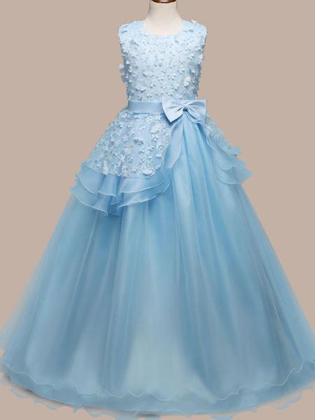 Milanoo Vestidos de niña de las flores Cuello joya Sin mangas Hasta el suelo Arcos Vestidos de fiesta para niños