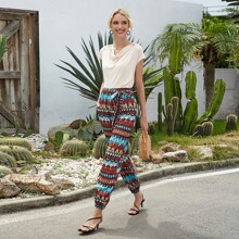 Tribal Print Belted Carrot Pants