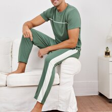 Schlafanzug Set mit Kontrast Einsatz