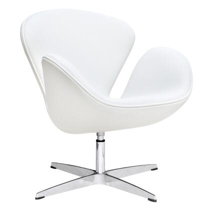 Swan Collection FMI1144-WHITE Lounge Chair with Swivel Seat  Fibre Glass Frame  Contemporary Style  Fire Retardant Polyurethane Foam Padding and