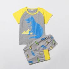 Schlafanzug Set mit Karikatur Dinosaurier Muster und Kontrast Raglan Ärmeln
