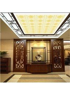 3D Golden Plaids Pattern PVC Waterproof Sturdy Eco-friendly Self-Adhesive Ceiling Murals