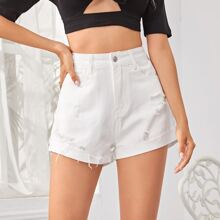 Ripped Cuffed Hem Denim Shorts