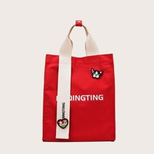 Dog Patch Letter Graphic Tote Bag