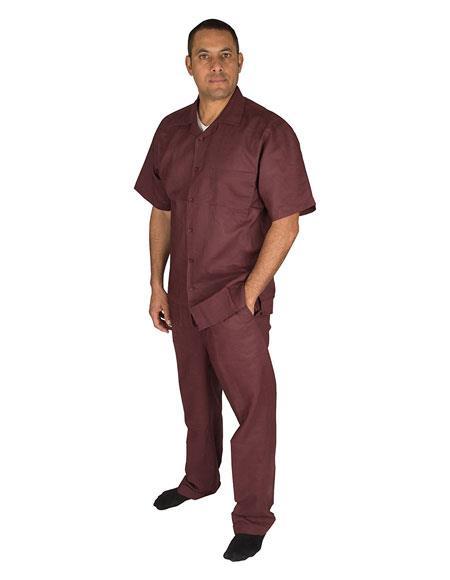 Men's Short Sleeve Button Closure 1 Linen 2 Piece Plum Shirt