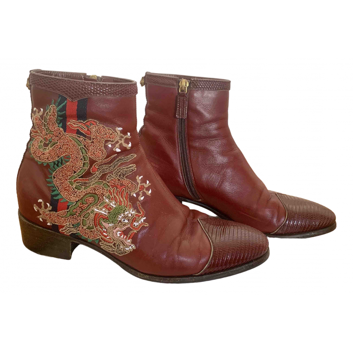 Gucci \N Burgundy Leather Ankle boots for Women 37 EU