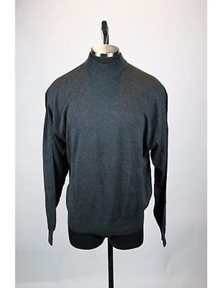 Mens Gray Solid Pattern Silk Blend Mock Neck Sweater