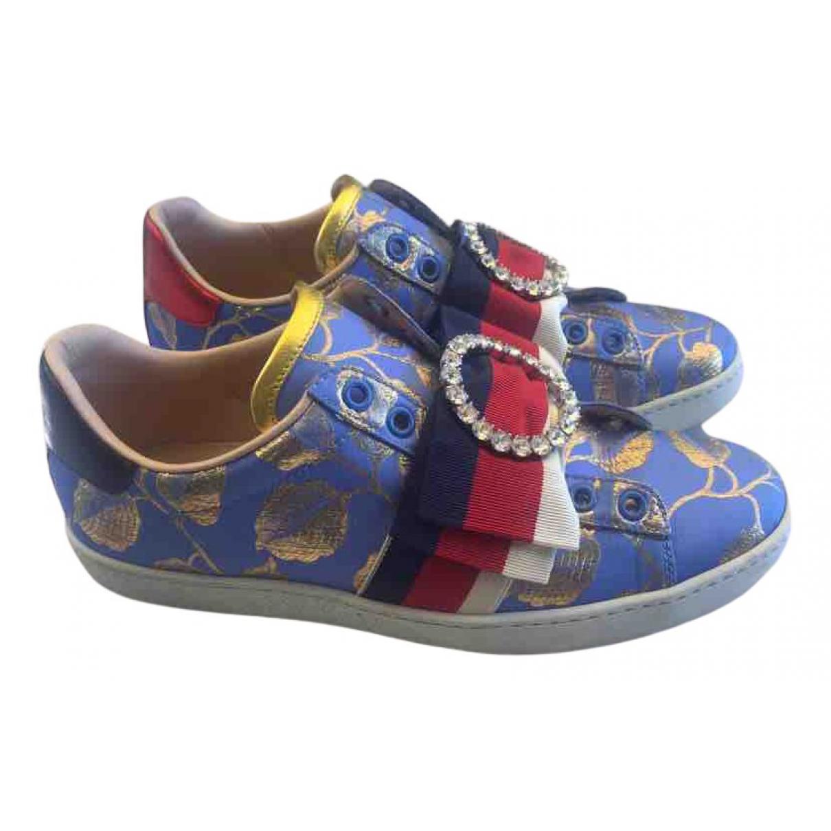 Gucci Ace Sneakers in  Blau Leinen