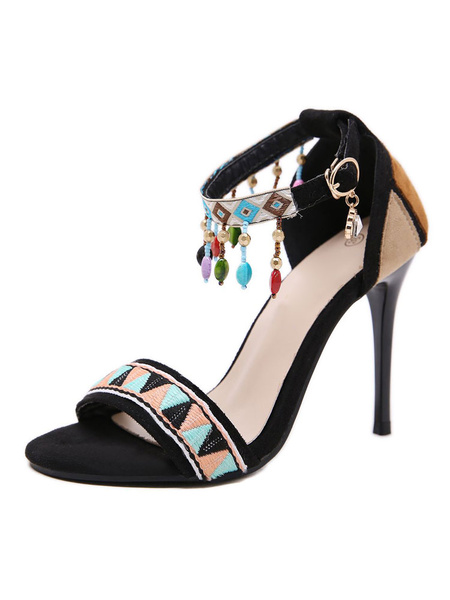 Milanoo High Heel Sandals Womens Knitting Design Fringed Beads Open Toe Ankle Strap Stiletto Heel Sandals