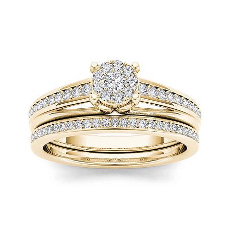 3/8 CT. T.W. Diamond 10K Yellow Gold Bridal Ring Set, 6 1/2 , No Color Family