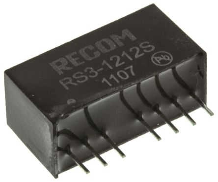 Recom RS3 3W Isolated DC-DC Converter Through Hole, Voltage in 9 → 18 V dc, Voltage out 12V dc