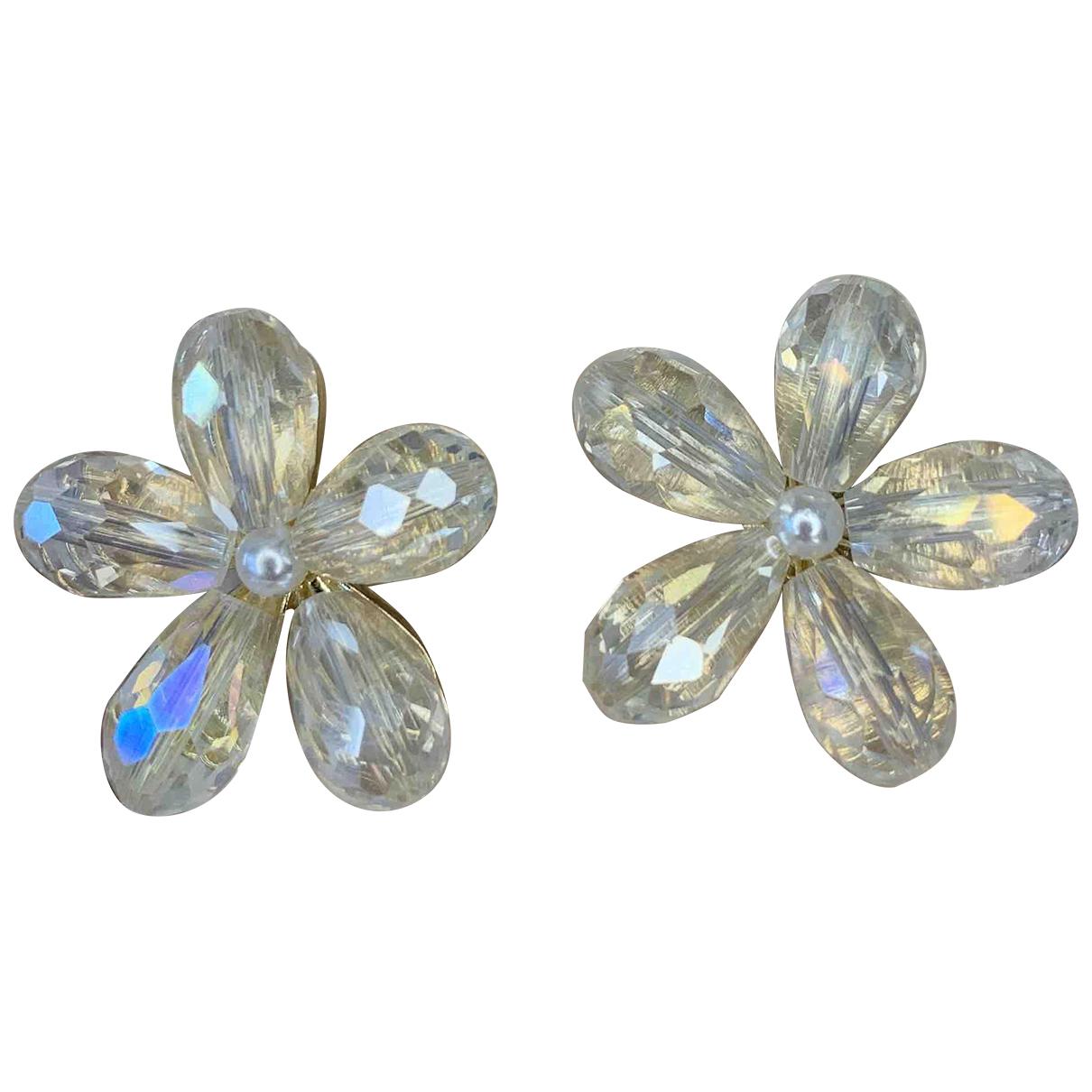 - Boucles doreilles Motifs Floraux pour femme en cristal - dore