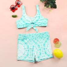 Bikini Badeanzug mit Batik und Knoten