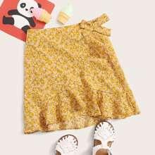 Falda de niñas floral de margarita con cordon lateral cruzada ribete fruncido