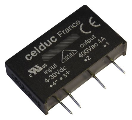 Celduc 5 A Solid State Relay, Zero Cross, PCB Mount, 460 V ac Maximum Load