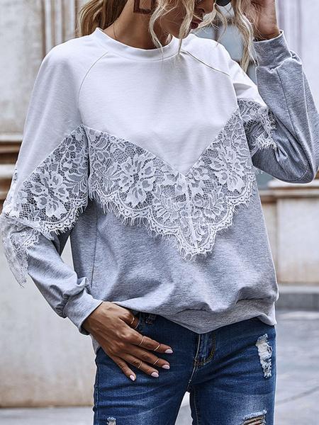 Milanoo Hoodie For Woman Grey Long Sleeves Color Block Lace Polyester hooded sweatshirt