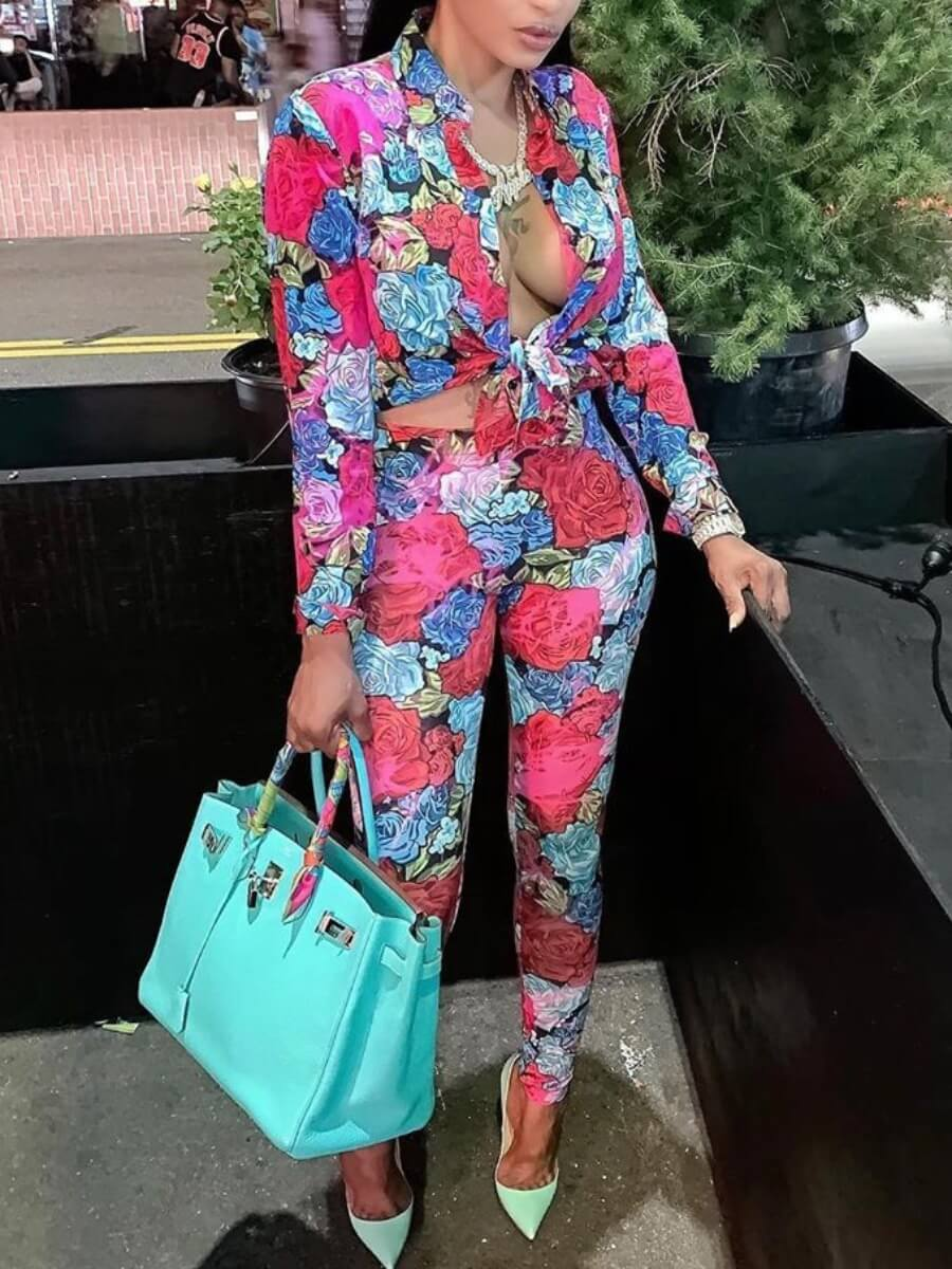 LW Lovely Stylish Turndown Collar Floral Print Multicolor Two Piece Pants Set