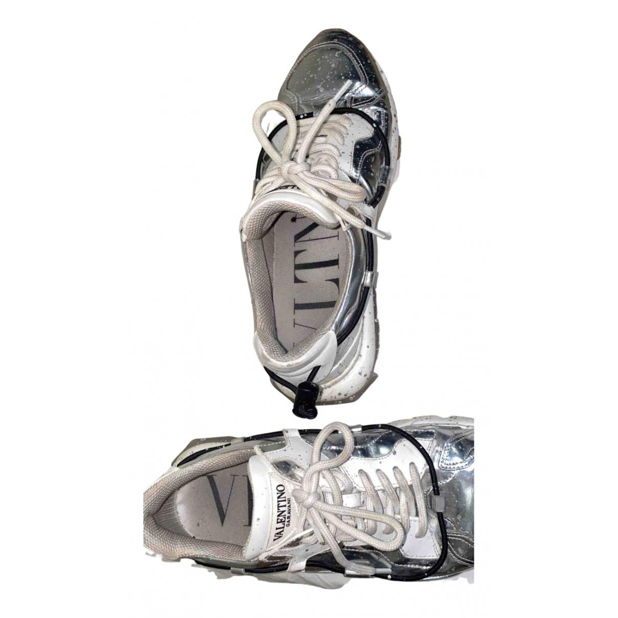Valentino Garavani N Silver Leather Trainers for Men 42 EU