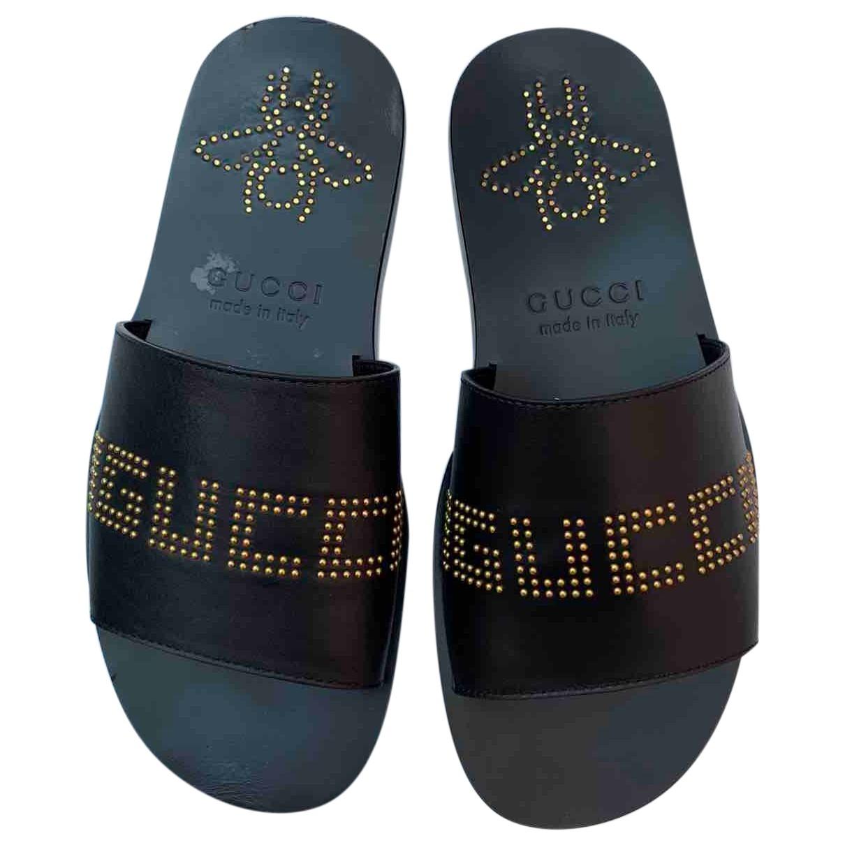 Gucci \N Black Leather Sandals for Men 7.5 UK