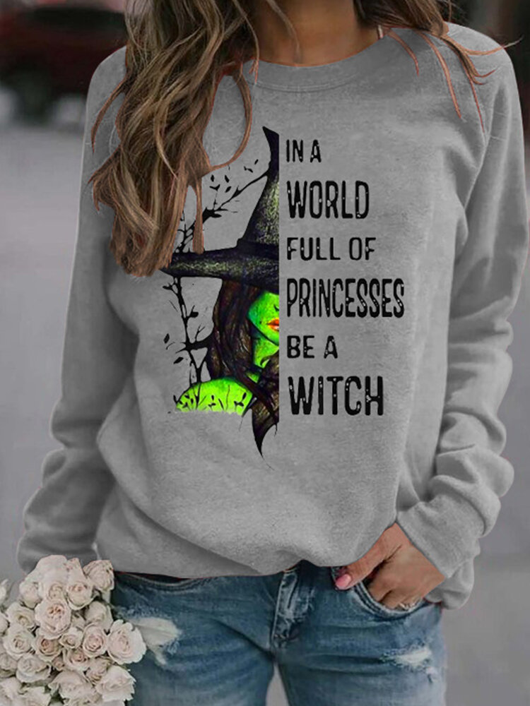 Casual Letters Print O-neck Sweatshirt for Women