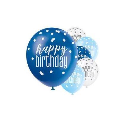 6 ballons en latex bleu bleu royal et blanc Anniversaire Glitz , 12