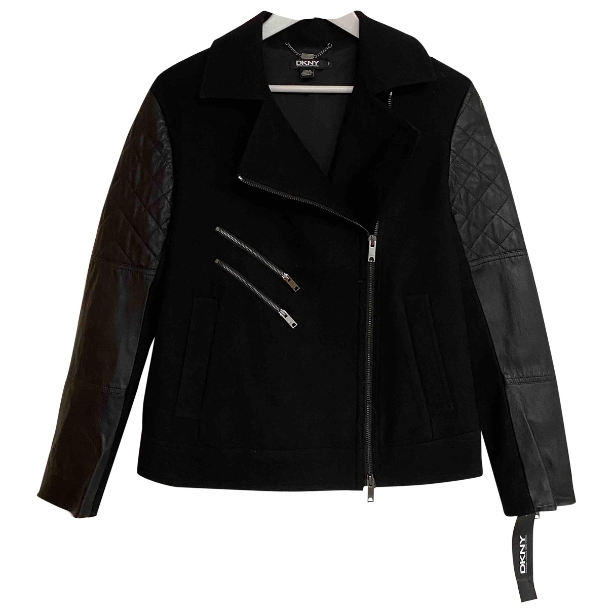 Dkny \N Black Wool Leather jacket for Women S International