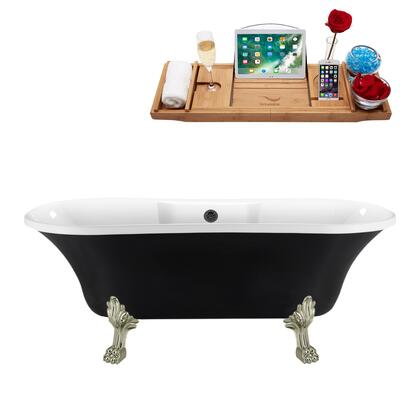 N103BNK-BL 68 Clawfoot Tub and Tray  External Drain and Brushed Nickel Feet  in Black and White