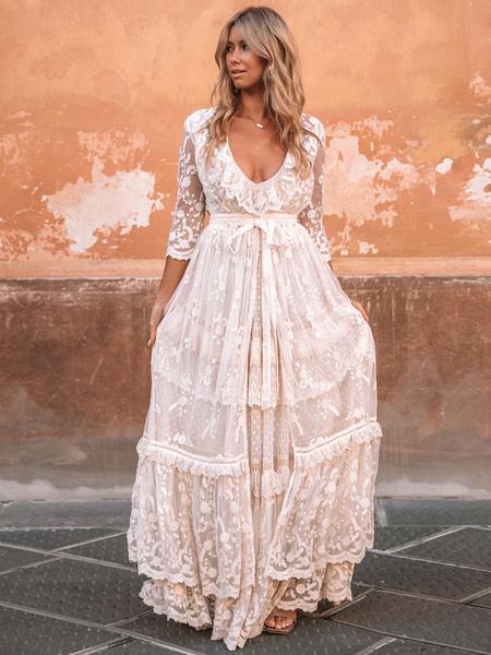 Milanoo Vestido de novia Boho Traje 2020 Cuello en V Hasta el suelo Encaje Multicapa Vestido de novia Vestido y atuendo