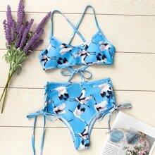 Bikini Badeanzug mit Kran Muster und seitlichem Band