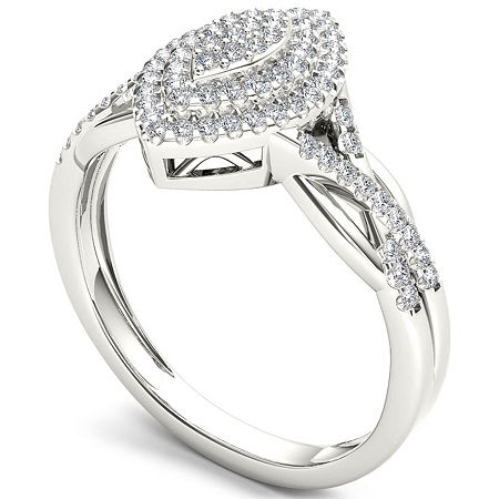 Womens 1/4 CT. T.W. Genuine White Diamond 10K Gold Engagement Ring, 8 , No Color Family