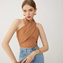 Cami Top mit Kreuzgurt, Wickel Design, Neckholder und Band hinten