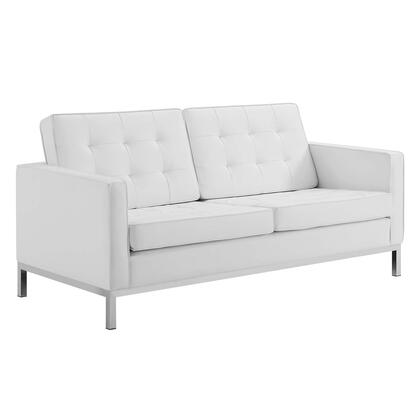 Loft Collection EEI-3388-SLV-WHI Tufted Button Upholstered Faux Leather Loveseat in Silver White