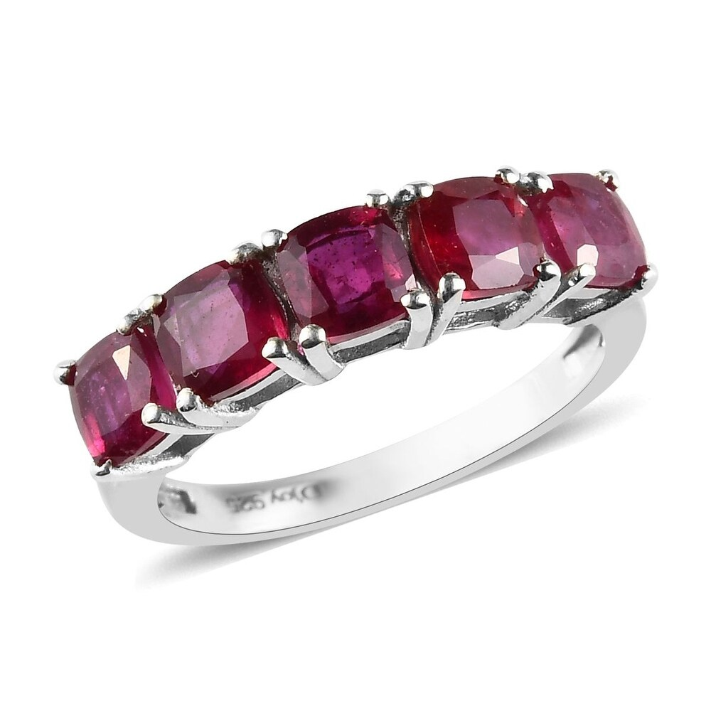 Platinum Over Sterling Silver Ruby Ring Ct 2.45 (Ring 7)