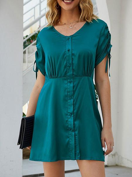 Milanoo Verano de las mujeres con cuello en V vestido de verde de los botones vestido corto