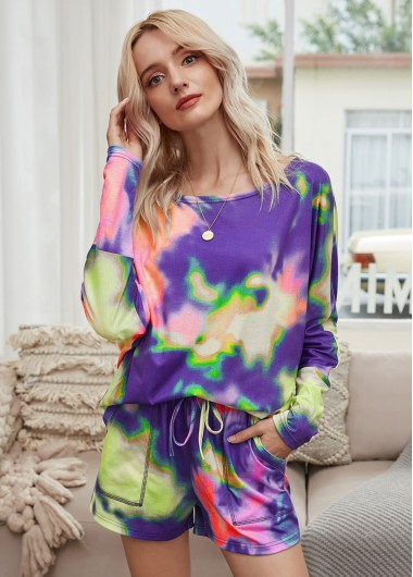 Long Sleeve Round Neck Tie Dye Print Top and Shorts - M