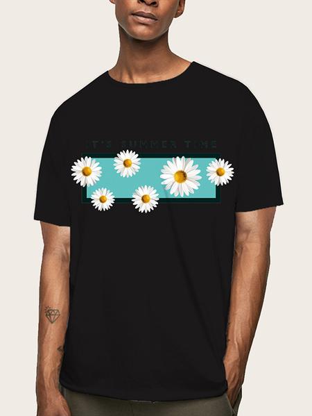Yoins Men Summer Casual Soft Plain Graphic Letter Print T-Shirt