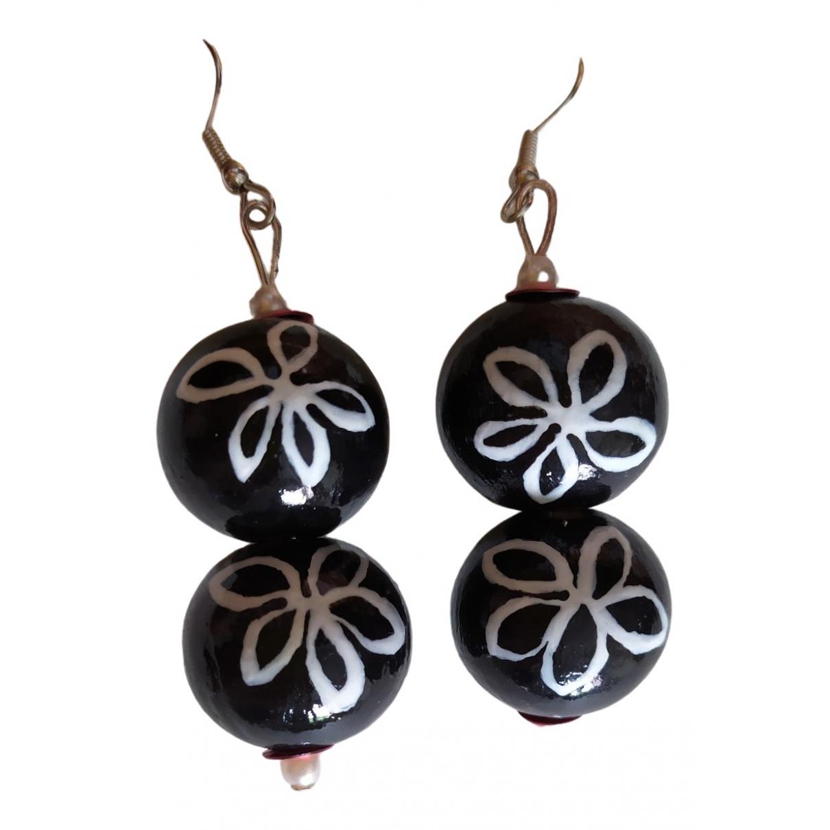 - Boucles doreilles Motifs Floraux pour femme en bois - noir