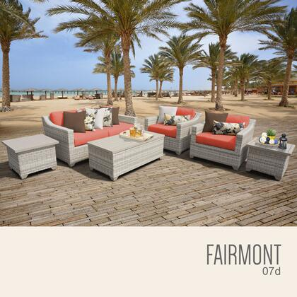 FAIRMONT-07d-TANGERINE Fairmont 7 Piece Outdoor Wicker Patio Furniture Set 07d with 2 Covers: Beige and