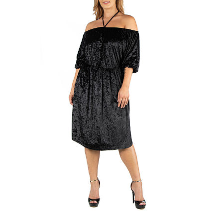 24/7 Comfort Apparel Knee Length Off Shoulder Velvet Dress - Plus, 1x , Black