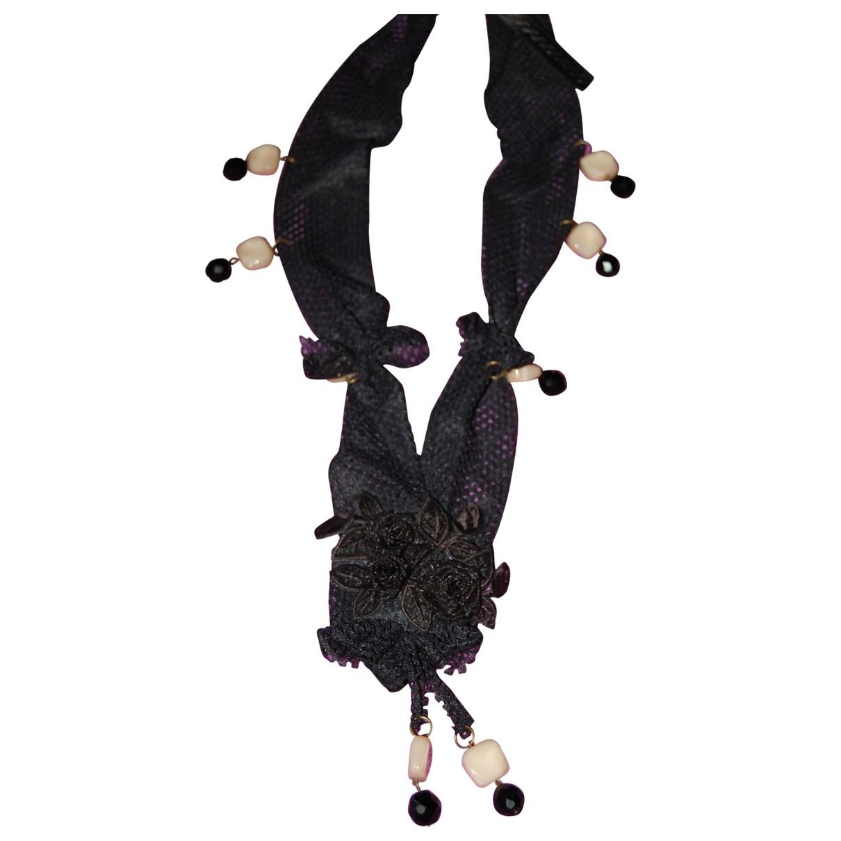- Sautoir   pour femme en soie - noir