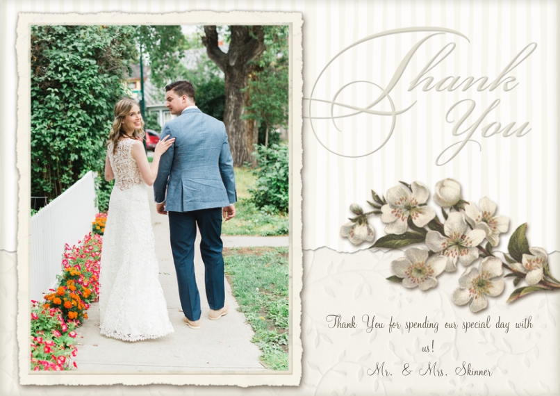 Wedding Thank You 5x7 Cards, Premium Cardstock 120lb, Card & Stationery -Floral Thank You
