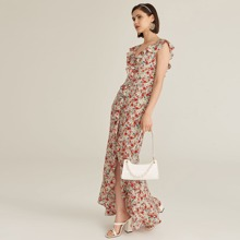 Vestido cruzado ribete con fruncido floral